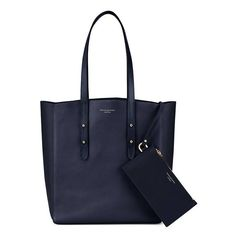 Aspinal of London Aspinal Essential Tote In Navy Pebble  Navy Suede ($440) ❤ liked on Polyvore featuring bags, handbags, tote bags, totes, navy, shopper tote, foldable shopping bag, laptop tote, suede tote bags and foldable tote bag