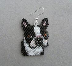 Items similar to Beaded Boston Terrier Earrings on Etsy Perler Bead Designs, Beaded Earrings, Beaded Jewelry, Crochet Earrings, Peyote Patterns, Beading Patterns, Beaded Banners, Peyote Beading, Beaded Animals