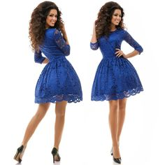 Stylish ladies royal blue lace & tulle pouf midi dress #lace #pouf #dress