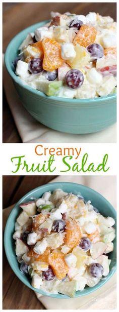 This creamy fruit salad recipe, using Greek yogurt, is sweet and creamy without the added calories! | tastesbetterfromscrach.com #easy #yogurt #recipe #mandarinoranges #Greekyogurt