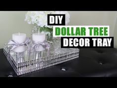 DIY Room Decor Mirrored Tray   How To Make A Tray with Metal Ribbon 2 Ways - YouTube