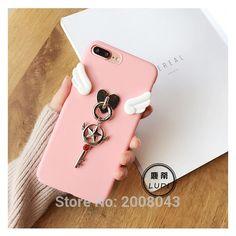 Alas rosadas card captor sakura muchacha hermosa case para iphone7 teléfono fundas para apple iphone 6 s 6/plus estrellas/luna palo Shell