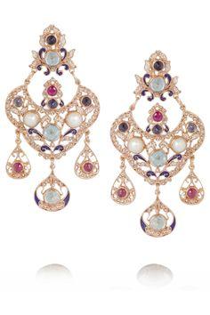 Percossi Papi Rose gold-plated multi-stone earrings NET-A-PORTER.COM