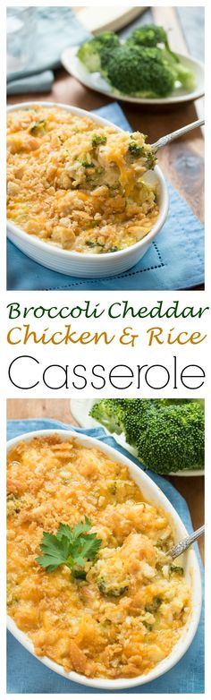 Broccoli Cheddar Chicken and Rice Casserole: Gooey cheddar cheese combined with broccoli, chicken, and rice with a golden brown crispy topping.