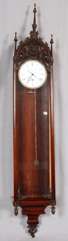 ENGLISH CATHEDRAL STYLE MAHOGANY WALL CLOCK : Lot 11066