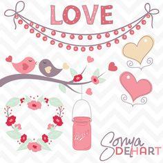 FREE Clip Art Valentine's Day Love Birds Mason Jar and Hearts