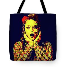 Surprise Girl Pop Art by Elena Riim.  Retro pop art portrait of a lovely, surprised,pretty pin-up girl 50's style and dark background. #ElenaRiimFineArtPhotography #ToteBags #Design #WomanFashion #Artwork #Photography