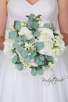 All White Wedding Flower brides bouquet with lots of eucalyptus greenery leaves Wedding Bouquets Pictures, Spring Wedding Bouquets, Flower Bouquet Wedding, Flower Bouquets, Simple Bridesmaid Bouquets, Bride Bouquets, Rustic Flower Arrangements, Budget Flowers, White Wedding Flowers