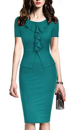 REPHYLLIS Womens Vintage One Piece Office Wear to Work Pencil Dress S Light Green >>> Click image for more details. (This is an affiliate link) Mode Outfits, Office Outfits, Casual Office, Office Uniform, Stylish Office, Chic Outfits, Dress Outfits, Modest Fashion, Fashion Dresses