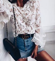 Pretty white lace blouse with blue denim mini skirt.