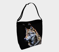 Wolf fractal totebag, Day Tote by Tracey Lee Everington . Double printed day tote with adjustable strap Day Bag, Art Designs, Tote Bags, Shoulder Bag, Handbags, Metal, Prints, Art Projects, Totes