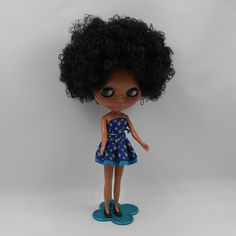 "12""+Neo+Nude++Dark+Skin+Black+hair+Blythe+doll+From+Factory++JSW53012+"