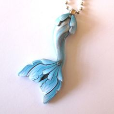 Mermaid Tail Necklace in Aqua by Claybykim on Etsy, $14.00