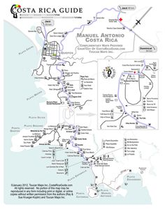 Detailed, accurate, up to date maps of Manuel Antonio, Monteverde, Arenal and many other popular destinations in Costa Rica showing roads, hotels, lodges, activities, restaurants, bars and other points of interest.