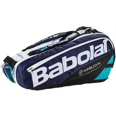 The Babolat Pure 6 Pack Wimbledon Tennis Bag holds up to 6 racquets making it perfect for competitive players.  Bag features 3 compartments, 1 of which is insulated to maintain string tension. There are new bigger openings for better access plus a pocket with a hard shell to protect fragile accessories. Backpack straps offer ease of carry. A medley of blues highlight the popular tennis fashion brand's nod to Wimbledon