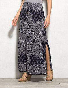 Textured Handkerchief Print Maxi Skirt