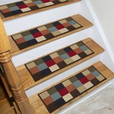 Ottomanson Ottohome Collection Stair Tread, inch X 26 inch Pack of Multicolor Narrow Hallway Decorating, Foyer Decorating, Interior Decorating, Foyer Design, Staircase Design, Diy Design, Foyers, Checker Design, Floating Stairs