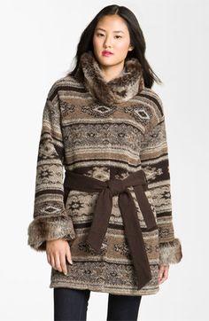 Jones New York Faux Fur Trim Wrap Coat | Nordstrom