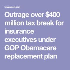 "Outrage over $400 million tax break for insurance executives under GOP Obamacare replacement plan. ""Six hundred billion, with the vast majority going to wealthy families. That describes so vividly the mistake with this bill, and will emphasize those who are going to lose their benefits and their insurance coverage, millions and millions, while billions are going to the very few,"" Levin said. ""That's really what this all about."""