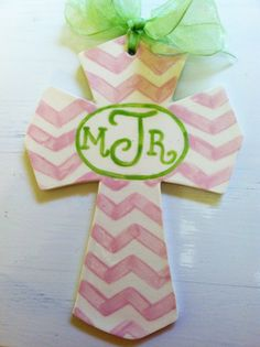 Personalized Chevron Ceramic Cross in Pink by NatalieJCollection, $23.00