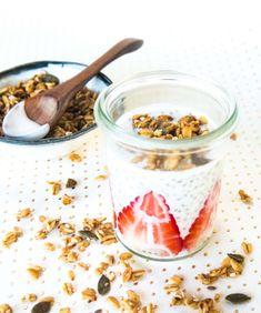 Strawberries & Cream Chia Pudding – Culinary Cartel Chia Pudding, Strawberries And Cream, Panna Cotta, Oatmeal, Strawberry, Sweets, Vegan, Breakfast, Ethnic Recipes