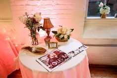 Guestbook Table Decor - I made the guestbook myself on a photobook website.