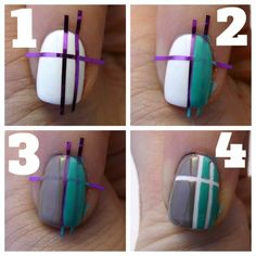 step by step Amazing nail art design using tape and nail polish! Diy Nails, Cute Nails, Pretty Nails, Different Nail Designs, Cute Nail Designs, Nails Decoradas, Tape Nail Art, Nailart, Geometric Nail