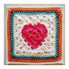 Granny Heart Square - Free crochet granny square pattern from Crochet tea party…