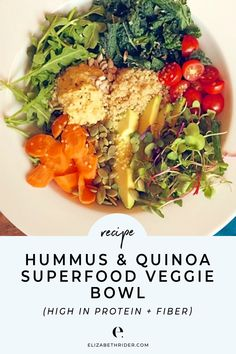 Hummus & Quinoa Superfood Veggie Bowl is part of Hummus Recipe Ina Garten Food Network - Spring is fast approaching and fresh veggies are on my mind! This salad came together from a bunch of leftover greens and veggies that I needed to use up, and Best Lunch Recipes, Vegan Recipes Easy, Vegetarian Recipes, Recipes Dinner, Vegan Ideas, Vegetarian Dinners, Protein Recipes, Summer Recipes, Free Recipes