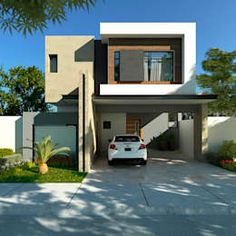Casa Residencial 220m2: de estilo por GA-Arquitecto https://www.homify.com.mx/libros_de_ideas/4588151/te-damos-mas-de-20-ideas-de-fachadas-para-que-te-inspires-a-construir-tu-casa-pronto