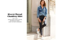 Chambray shirt, skinny ankle jeans (black or very dark), keds or converse