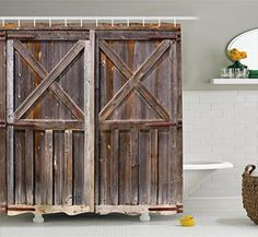 K&N- Rustic Bathroom Curtain Shower Blind Art Design Waterproof Wood Barn Door #KandN #Rustic