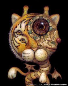 ✯ Tiger Dragon .. Artist Naoto Hattori✯ or as I interpret it, a weird little Tiger Gemini...