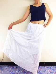 Women Cotton Skirt Tiered Ruffle Skirt Long by NaughtyGirlShop