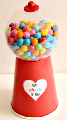 DIY Gumball Valentines tutorial ~ easy and so cute... made with a paper cup and an ornament