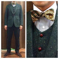 グリーンツイードのカジュアルウェディング新郎衣装  #新郎衣装 #タキシード #蝶ネクタイ  http://lifestyleorder.com/mens/wedding