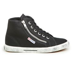 Superga High Top Sneakers ($80) ❤ liked on Polyvore featuring shoes, sneakers, trainers, black, black shoes, superga shoes, black high tops, high top sneakers and high top shoes