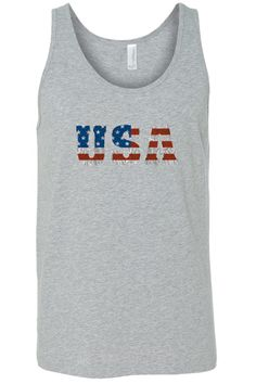 7aef151ac80 Men s Unisex USA Flag Proud To Be An American Tank Top Shirt