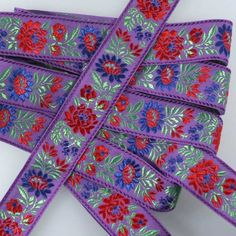 "Purple Floral Folk Costume Trim ~ Czech Republic ~ 1-3/8"" wide ~ Cotton and Rayon"