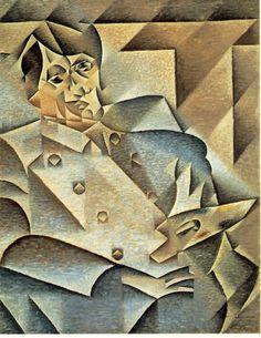 "Retrato de Pablo Picasso por Juan Gris // Juan Gris Spanish, Portrait of Pablo Picasso // Juan Gris Spanish, Portrait of Pablo Picasso, January–February 1912 Oil on canvas 36 x 29 in. x cm) Signed and inscribed, l.: ""Hommage á Pablo Picasso/Juan Gris"" Paul Cezanne Paintings, Cubist Paintings, Cubist Art, Oil Paintings, Georges Braque, Portraits Cubistes, Cubist Portraits, Kunst Picasso, Art Picasso"