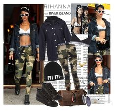 """""""Rihanna In Rihanna for River Island"""" by kusja ❤ liked on Polyvore featuring River Island, Balenciaga, Chanel and Robert Lee Morris"""