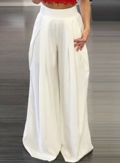 758aa8399a Roawe Women s High Waist Loose Fit Wide-Leg Pleated Pants S in White