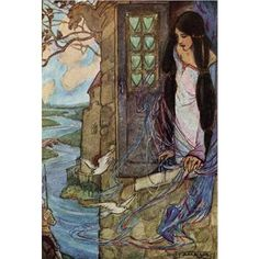 Florence Harrison was an Art Nouveau and Pre-Raphaelite illustrator of poetry and children\'s books. Many of her books w Art And Illustration, Vintage Illustrations, Art Nouveau, Art Deco, The Lady Of Shalott, Art Magique, Illustrator, Creation Art, Fairytale Art