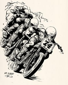 """Flat Track Train by Adi Gilbert / 99seconds.com - an element from the Roland Sands / Indian Motorcycle """"Super Hooligan Tour poster. 2016"""