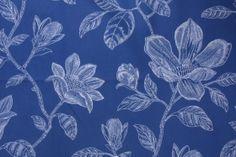 Robert Allen Bouquet Bay Drapery Fabric in Navy