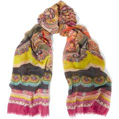 Etro Printed cashmere scarf (915 AUD) ❤ liked on Polyvore featuring accessories, scarves, orange, patterned scarves, lightweight scarves, orange scarves, etro and etro scarves