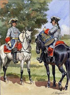 Jusqu'au règne de Louis XVI, les corps qui servaient à l'origine tant à pied qu'à cheval (Mousquetaires, Dragons et Grenadiers à cheval) avaient pour musiciens des tambours et des hautbois. Tambours des Mousquetaires Noirs et Gris, règne de Louis XV. Dessin de Lucien Rousselot, Membre de La Sabretache.
