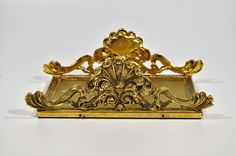 Victorian Brass letter holder/ Brass Letter Holder,Hollywood Regency napkin holder/desk/colonial by decor4home2 on Etsy
