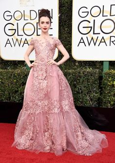 Lily Collins' Golden Globes 2017 Dress Makes Her Look Like a Princess!: Photo The red carpet only just started at the 2017 Golden Globe Awards, but we already know that Lily Collins will be on the best dressed list tonight! Zuhair Murad, Lily Collins Vestidos, Lily Collins Golden Globes 2017, Red Carpet Gowns, Celebrity Dresses, Runway Models, Red Carpet Fashion, Beautiful Gowns, Beautiful Heels