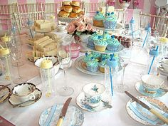Blue cupcakes for baby shower, Tea Party, London